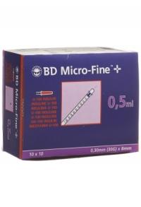 BD MICRO-FINE+ U100 Ins Spr 8mmx0.3mm 100 x 0.5 ml