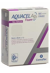 AQUACEL Ag Foam nicht-adhäsiv 5x5cm 10 Stk
