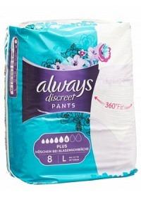 ALWAYS Discreet Inkontinenz Pants L Plus 8 Stk