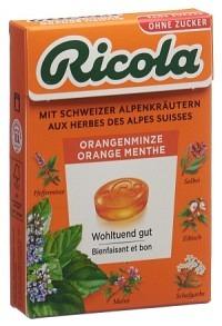 RICOLA Orangen-Minze Bonbons o Zucker Box 50 g