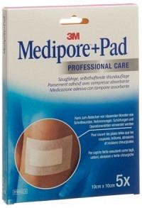 3M MEDIPORE+PAD 10x10cm Wundkissen 5x5.5cm 5 Stk