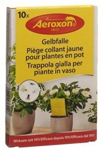 AEROXON Gelbfalle für Topfpflanzen 10 Stk (Achtung! Versand nur INNERHALB der SCHWEIZ möglich!)