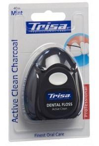 TRISA Zahnseide Active Clean Charcoal 40m mi Xylit