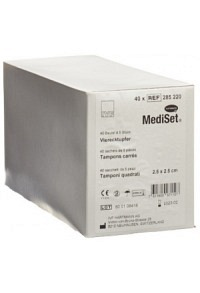 MEDISET IVF Vierecktupfer 2.5x2.5cm 40 Btl 5 Stk