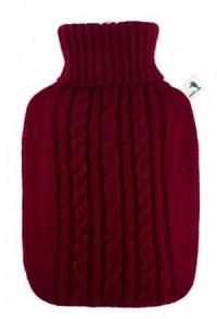 FROSCH Wärmflasche PVC 1.8l Strickbezug rot