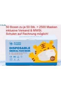 VASANO OP Maske Kind 3-14 J Typ IIR D/F/I 50 Stk * 50 Box (Total 2500 Masken)